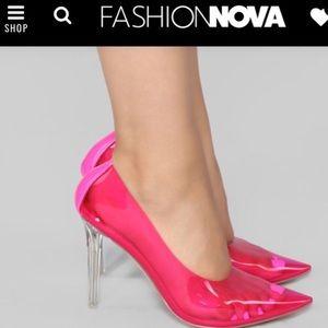 """You Da Boss"" Fashion Nova Pump in Neon Pink."
